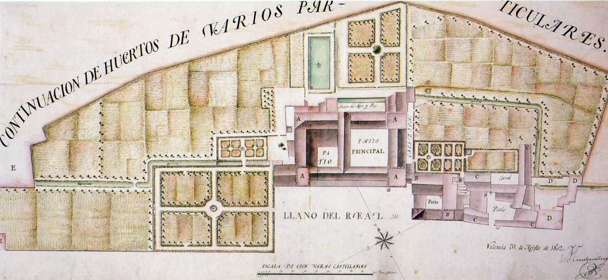 Plano Palacio Real de Valencia, 1802